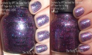 Sephora by OPI Too Good for Him over OPI Done out in Deco