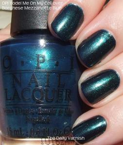 OPI Yodel Me On My Cell over Borghese Mezzanotte Blue
