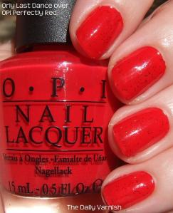 Orly Last Dance over OPI Perfectly Red
