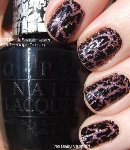 OPI Black Shatter over OPI Teenage Dream