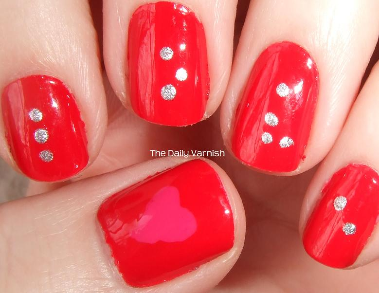 to nail art so this was the perfect Valentine's Day manicure for me