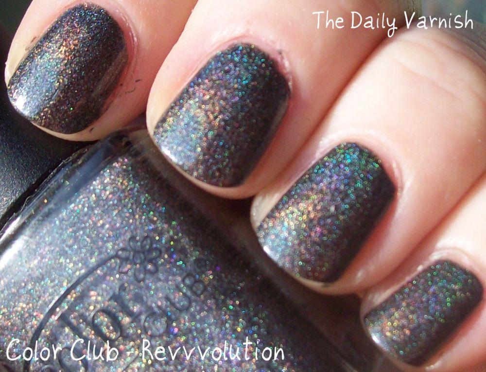 Color Club * revvvolution-Negro Gris Oscuro Holográfico Holo Brillo ...