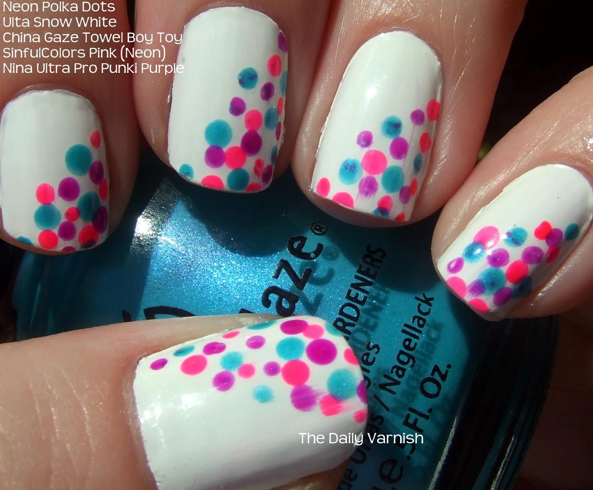 Nail Art: Neon Polka Dots – The Daily Varnish