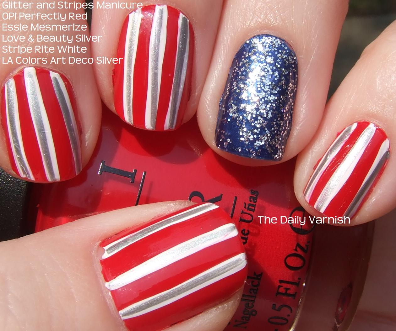 Glitter and Stripes Nail Art – The Daily Varnish