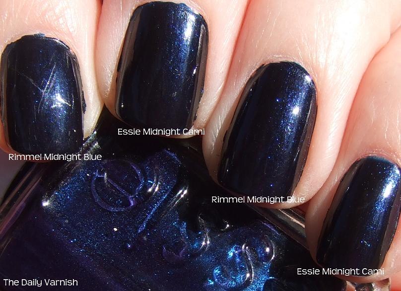 Essie Midnight Cami dupe; Rimmel Midnight Blue | The Daily Varnish
