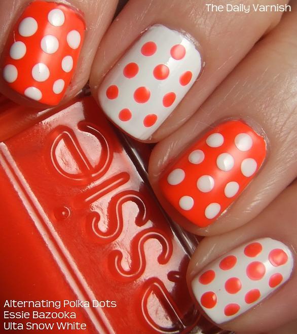 Polka Dot Nail Art: Nail Art: Alternating Polka Dots