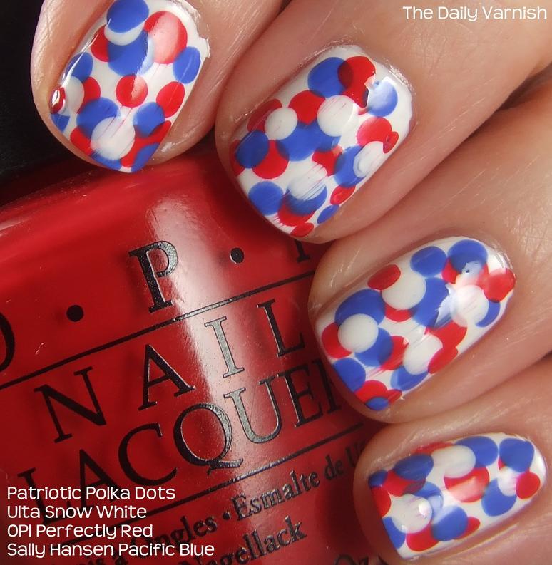 Nail Art Patriotic Polka Dots The Daily Varnish