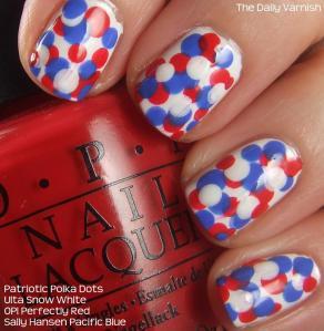 Nail Art Patriotic Polka Dots