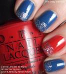 Red, Glitter and Blue manicure