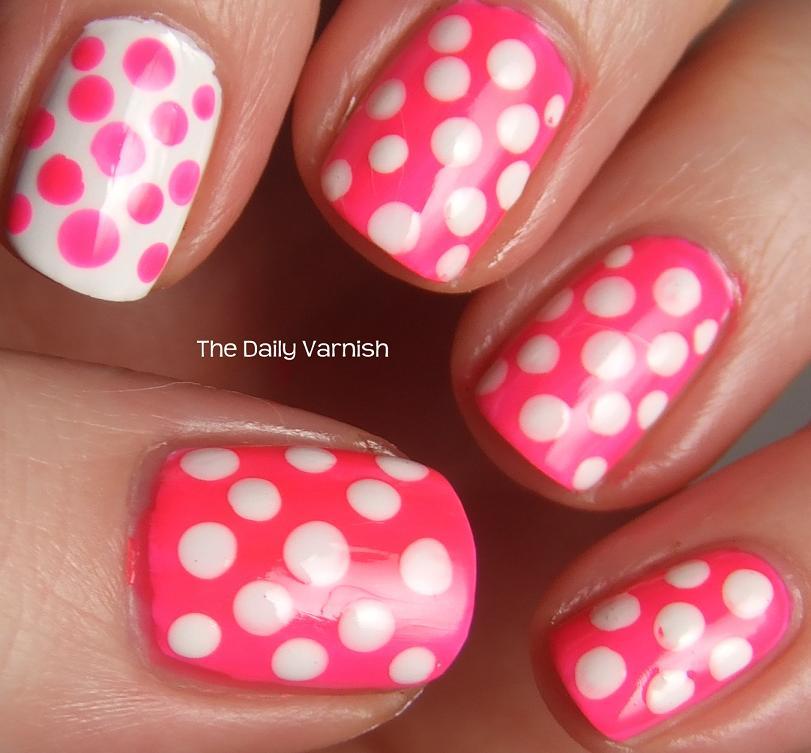 ... orange pixi peony pink nail art purple and white polka dots nail art