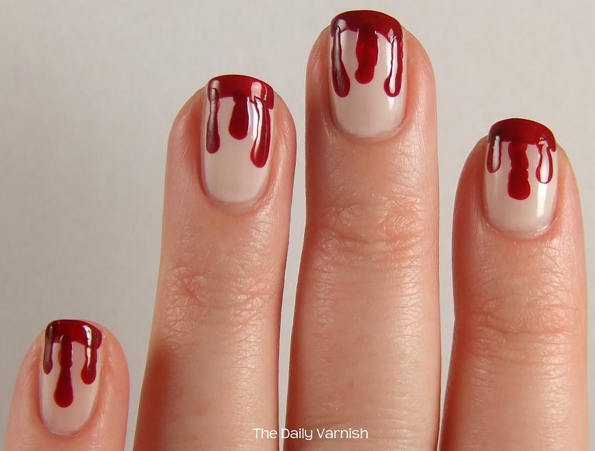 Trick Or Treat Blood Drip Nail Art The Daily Varnish