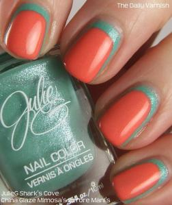 JulieG Shark's Cove China Glaze Mimosa's Before Mani's