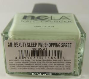 NCLA AM Beauty Sleep, PM Shopping Spree label