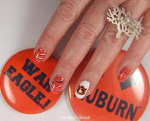 Auburn Nail Art Tiger Stripes 2