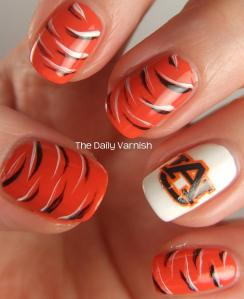 Auburn Nail Art Tiger Stripes