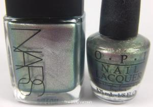 NARS Disco Inferno vs OPI Not Like the Movies bottles