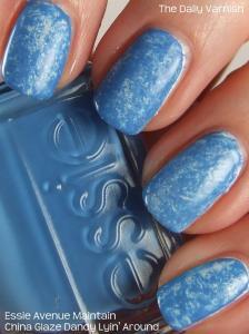 Plastic Wrap Manicure Essie Avenue Maintain and China Glaze Dandy Lyin' Around 2