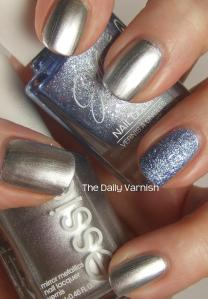 Essie No Place Like Chrome and JulieG Blueberry Fizz 4