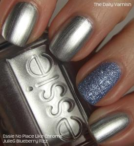 Essie No Place Like Chrome and JulieG Blueberry Fizz