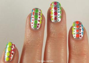 Essie No Place Like Chrome + Neon Polka Dots 3