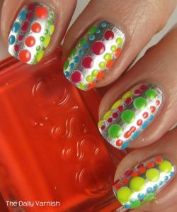 Essie No Place Like Chrome + Neon Polka Dots 4