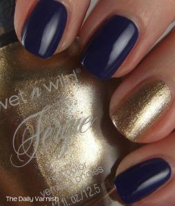 OPI Eurso Euro and wet n wild Fergie nail color Grammy Gold 2