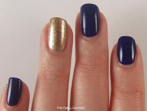 OPI Eurso Euro and wet n wild Fergie nail color Grammy Gold 4