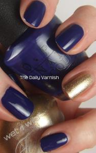 OPI Eurso Euro and wet n wild Fergie nail color Grammy Gold 5