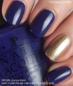 OPI Eurso Euro and wet n wild Fergie nail color Grammy Gold