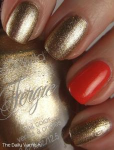 wet n wild Fergie nail color Grammy Gold and Pixi Simmer Sunset 2