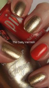 wet n wild Fergie nail color Grammy Gold and Pixi Simmer Sunset 3