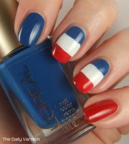 French Flag Nail Art